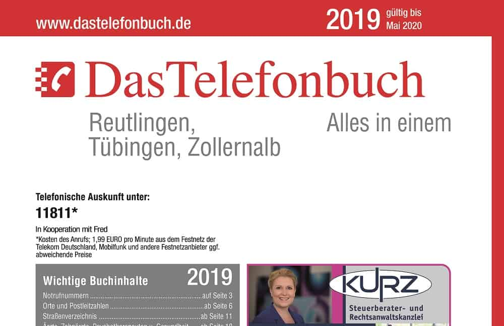 DasTelefonbuch Für Reutlingen, Tübingen, Zollernalb Ist Am 6. Mai 2019 Neu Erschienen