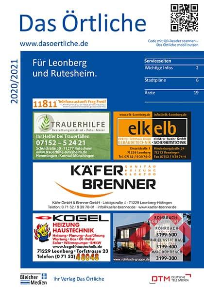 Das Örtliche für Leonberg und Rutesheim 2020/2021