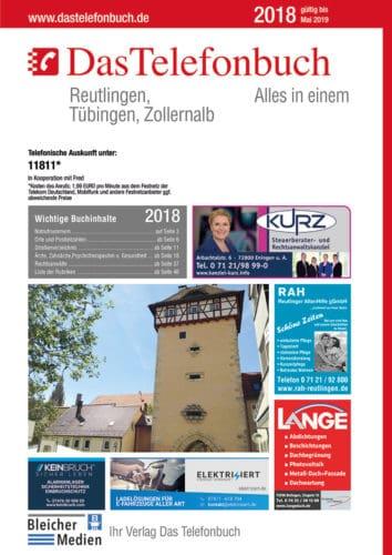 Das Telefonbuch Reutlingen, Tübingen, Zollernalb 2018