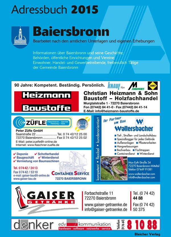 Adressbuch Baiersbronn 2015