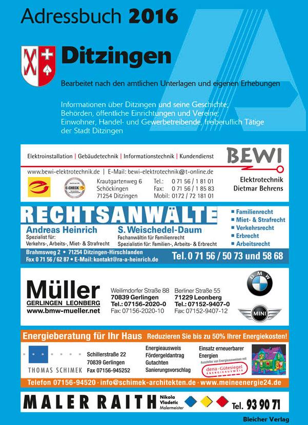Adressbuch Ditzingen 2016