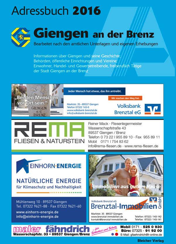 Adressbuch Giengen an der Brenz 2016