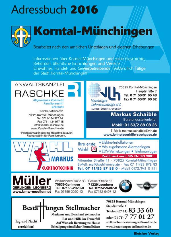 Adressbuch Korntal Münchingen 2016