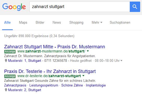 Google AdWords Suchmaschinenwerbung (SEM)