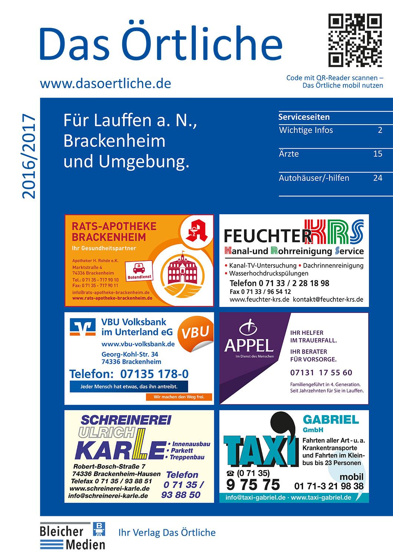 Das Örtliche für Lauffen a.N., Brackenheim und Umgebung 2016/2017