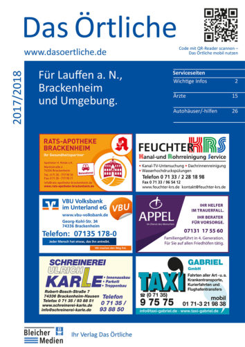 Das Örtliche für Lauffen a.N., Brackenheim und Umgebung Ausgabe 2017/2018