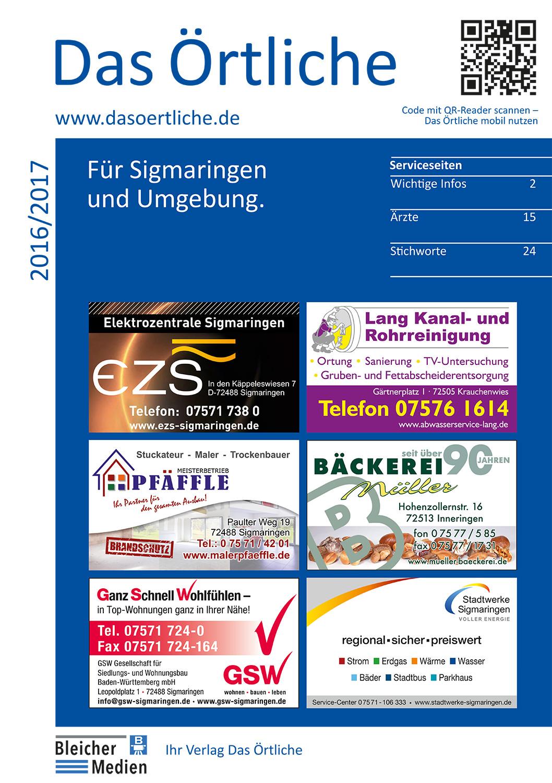 Das Örtliche für Sigmaringen und Umgebung 2016/2017