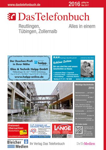 Das Telefonbuch Reutlingen, Tübingen, Zollernalb 2016