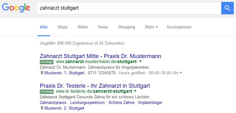 Google Such-Beispiel: Zahnarzt Stuttgart
