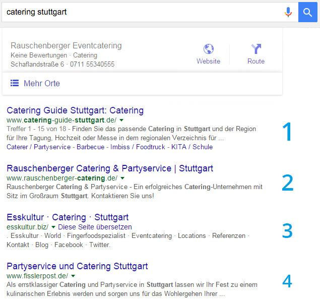 Organische Suchtreffer bei Google