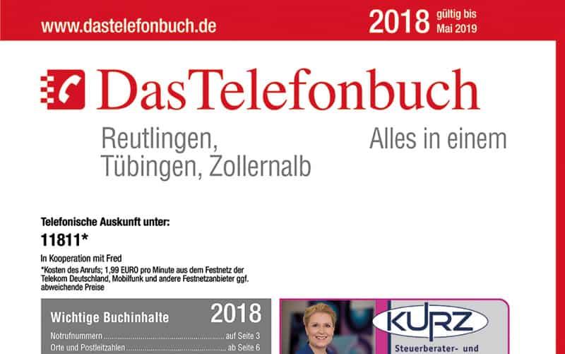 Das Telefonbuch Für Reutlingen, Tübingen, Zollernalb Ist Am 07. Mai 2018 Neu Erschienen