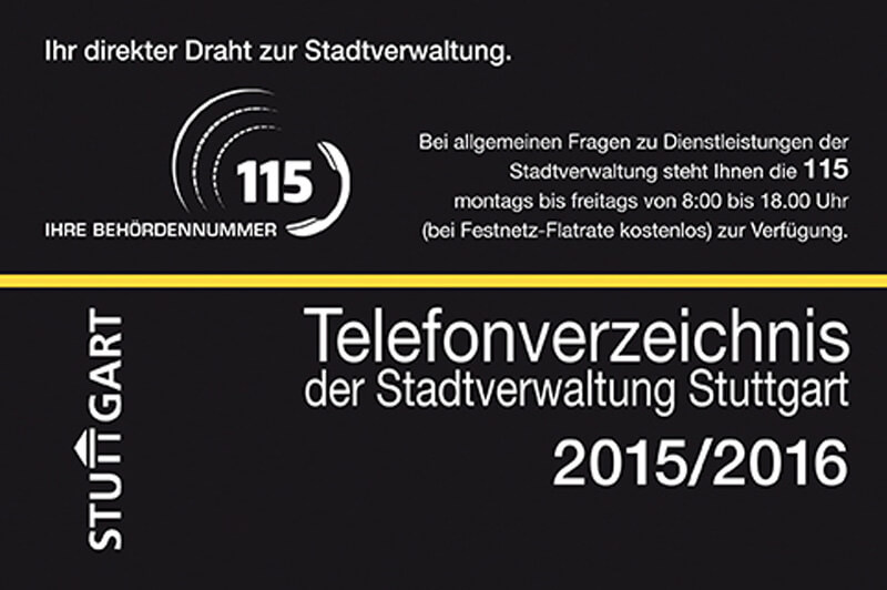 Telefonverzeichnis Der Stadtverwaltung Stuttgart 2015/2016
